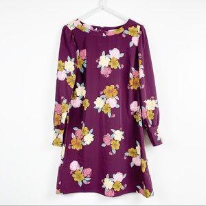 Loft womens mini shift dress 8 P purple floral